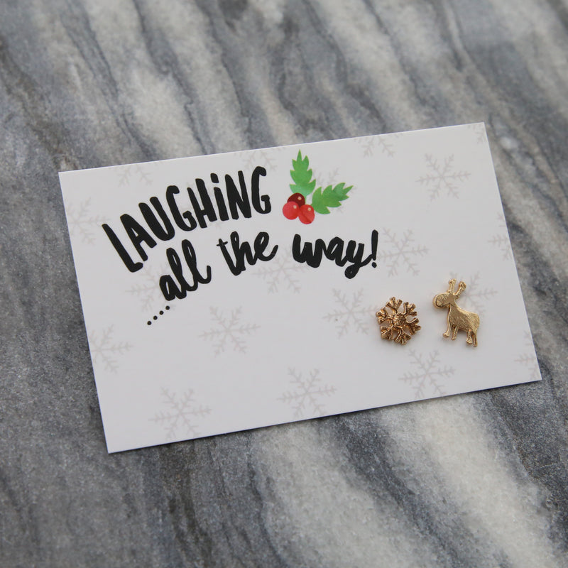 Christmas Collection - Laughing All The Way - Reindeer & Snowflake Earring Studs - Gold (8313)