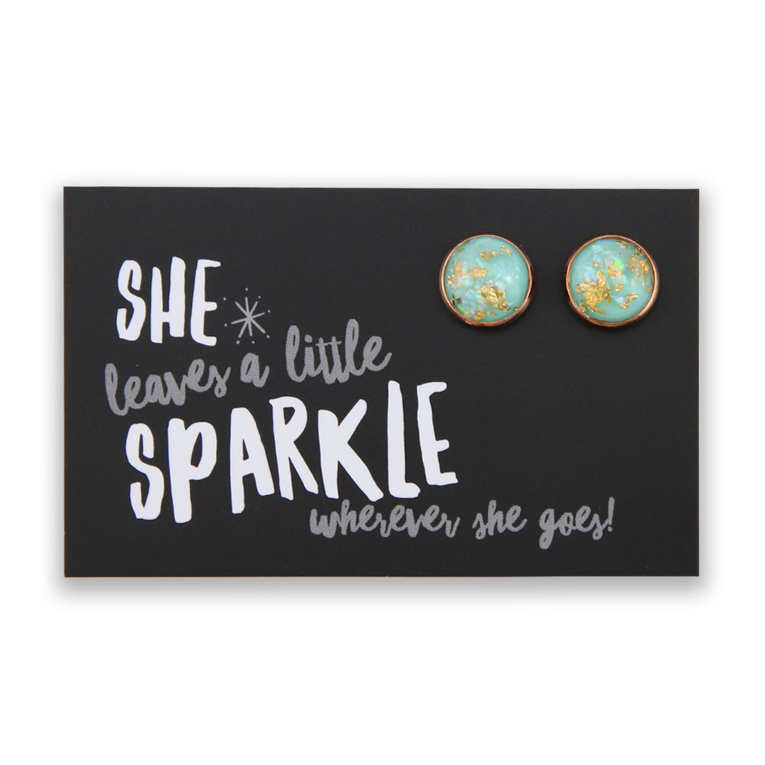 SPARKLEFEST - She Leaves A Little Sparkle - Rose Gold Earrings - Aqua Gold Leaf (9503)