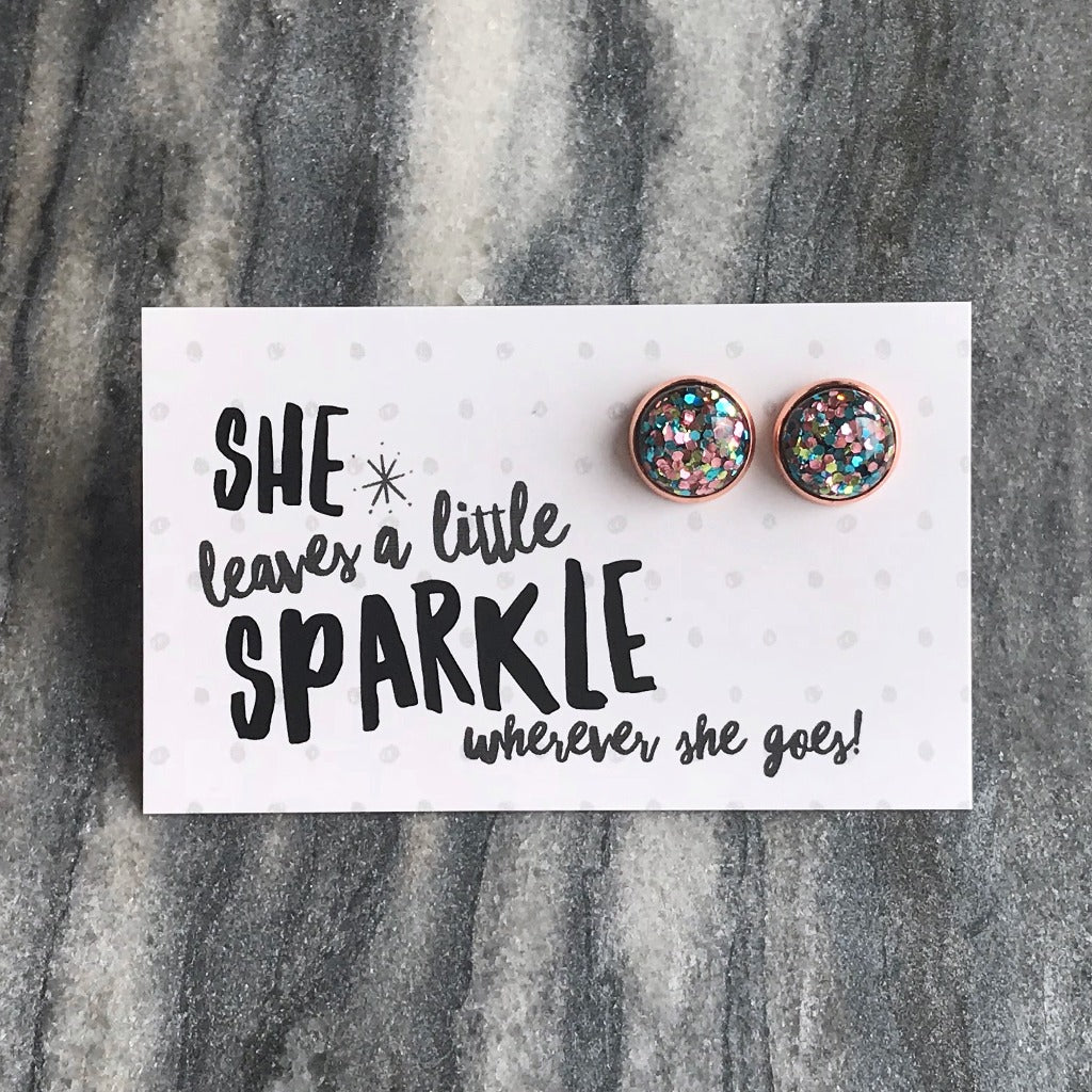 SPARKLEFEST - She Leaves a Little Sparkle! Glitter Resin Earrings in Rose Gold - Glitter Pastels (9506)