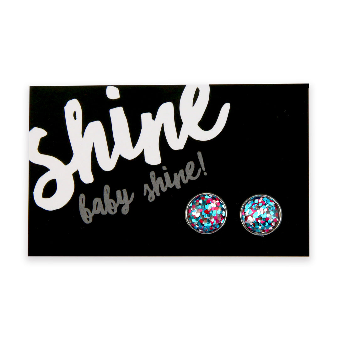 SPARKLEFEST - Shine Baby Shine! - Glitter Resin Earrings set in Bright Silver - Pink, Aqua Blue & Silver (8508)