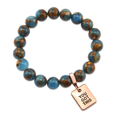 Stone Bracelet -  Agean Blue Lux Nepal Stone 10mm Beads - with Rose Gold Word Charm