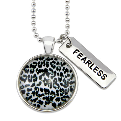 The STRONG WOMEN Collection - Bright Silver ' FEARLESS ' Necklace - Snow Leopard (10813)