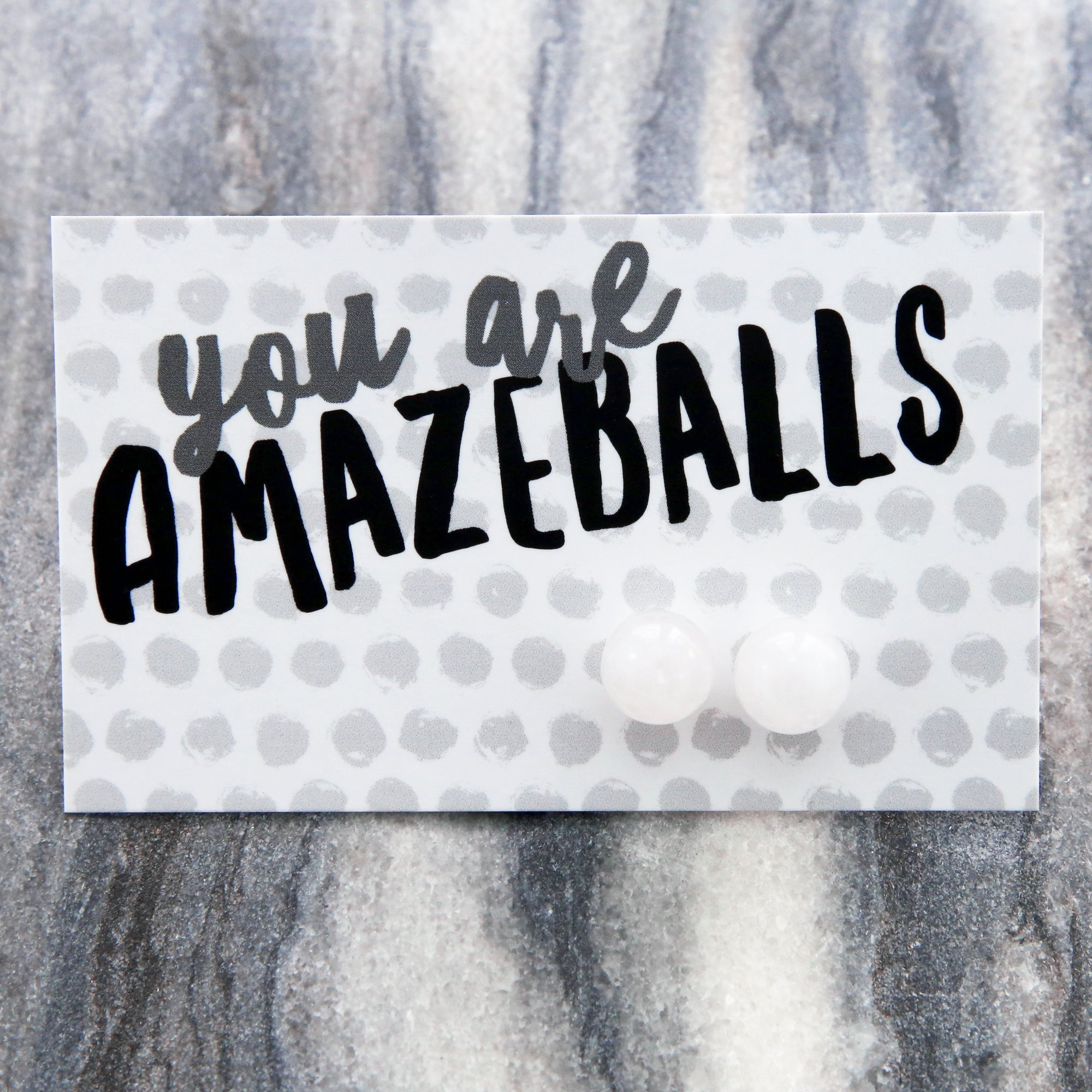 You Are Amazeballs! - Snow White Jade Stone Ball Earrings (8706)