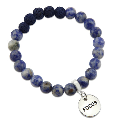 Lava Stone Bracelet -  8mm Sodalite + Midnight Lava Stone beads - with Silver Word Charm