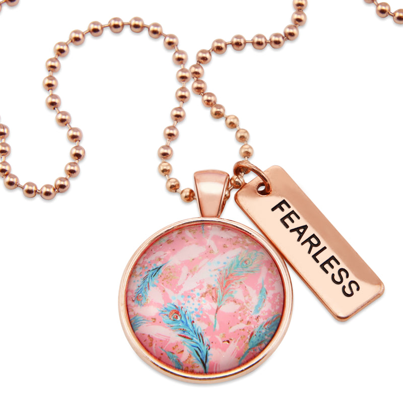 BOHO Collection - Rose Gold 'FEARLESS' Necklace - Soft Feathers (11134)