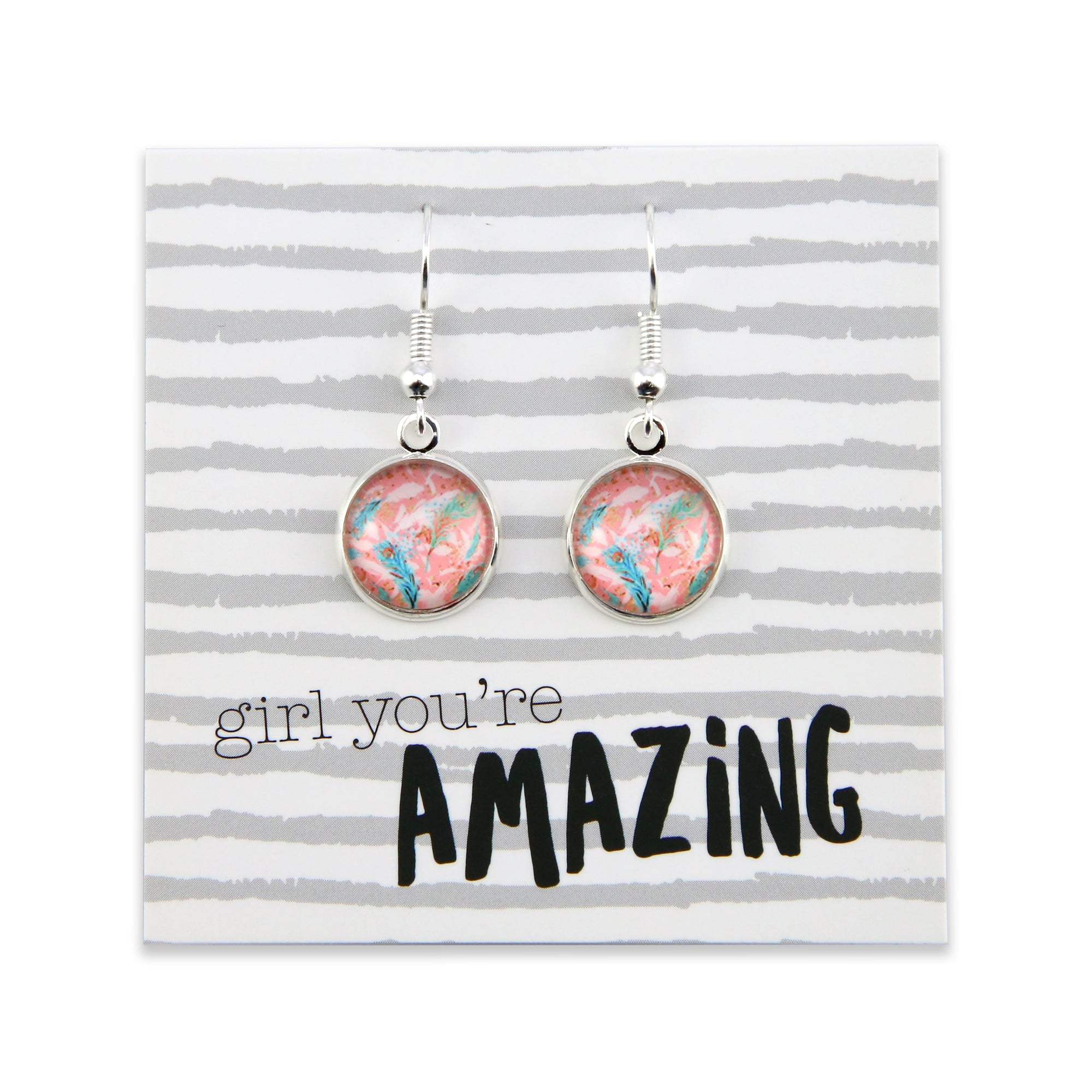BOHO Collection - Girl You're Amazing - Stainless Steel Bright Silver Dangle Earrings - Soft Feathers (9411)