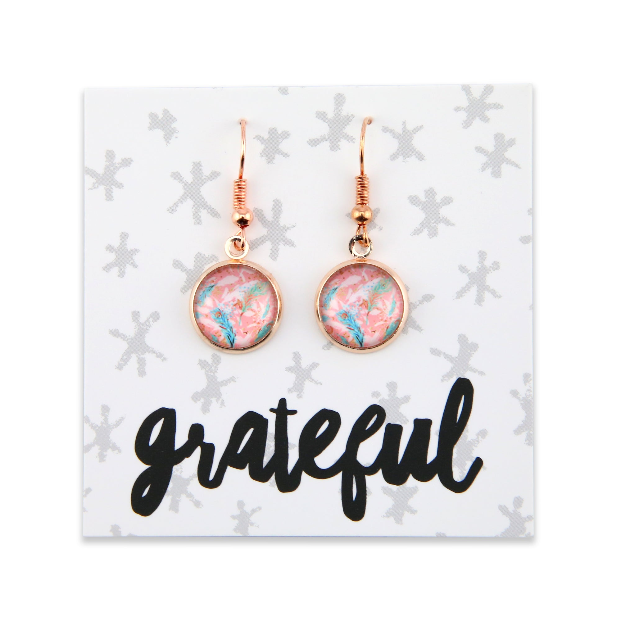 BOHO Collection - GRATEFUL - Stainless Steel Rose Gold Dangle Earrings - Soft Feathers (8075)