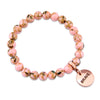 PINK COLLECTION - Soft Pink Synthesis 8mm Bead Bracelet  -  Rose Gold Word Charms