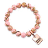 PINK COLLECTION - Soft Pink Synthesis 10mm Bead Bracelet  -  Rose Gold Word Charms