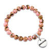 PINK COLLECTION - Soft Pink Synthesis 8mm Bead Bracelet  -  Silver Word Charms