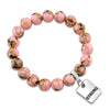 PINK COLLECTION - Soft Pink Synthesis 10mm Bead Bracelet  -  Silver Word Charms