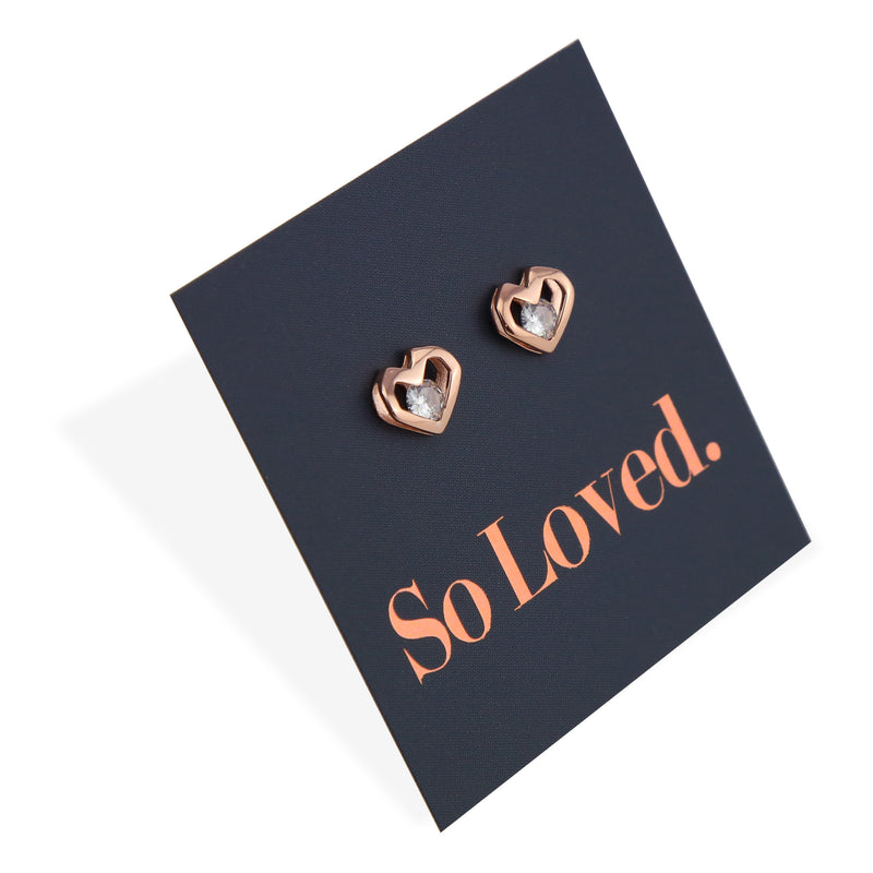 Open Hearts Stud with Cubic Zirconia - Sterling Silver Rose Gold - So Loved (8307)
