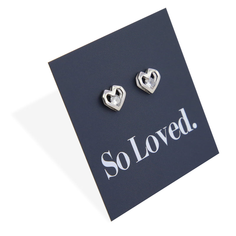 Open Hearts Stud with Cubic Zirconia - Sterling Silver - So Loved (8307)