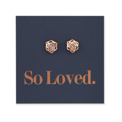 Rose Flower Stud with Cubic Zirconia - Sterling Silver Rose Gold - So Loved (9413-R)