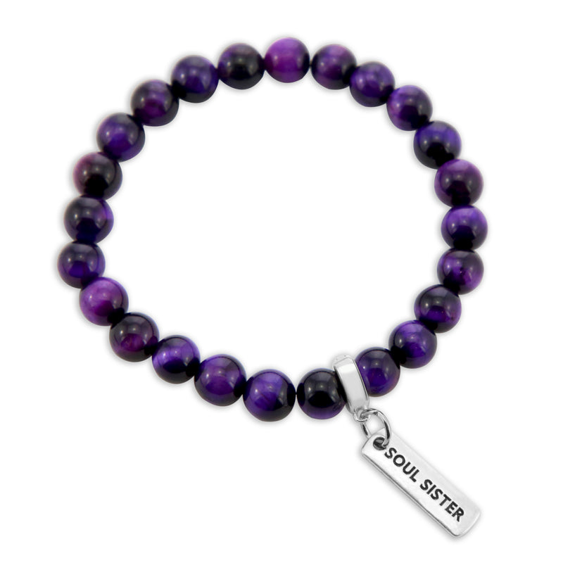 LIMITED EDITION Precious Stones - Deep Purple Tigers Eye 8mm bead bracelet - with Word Charms