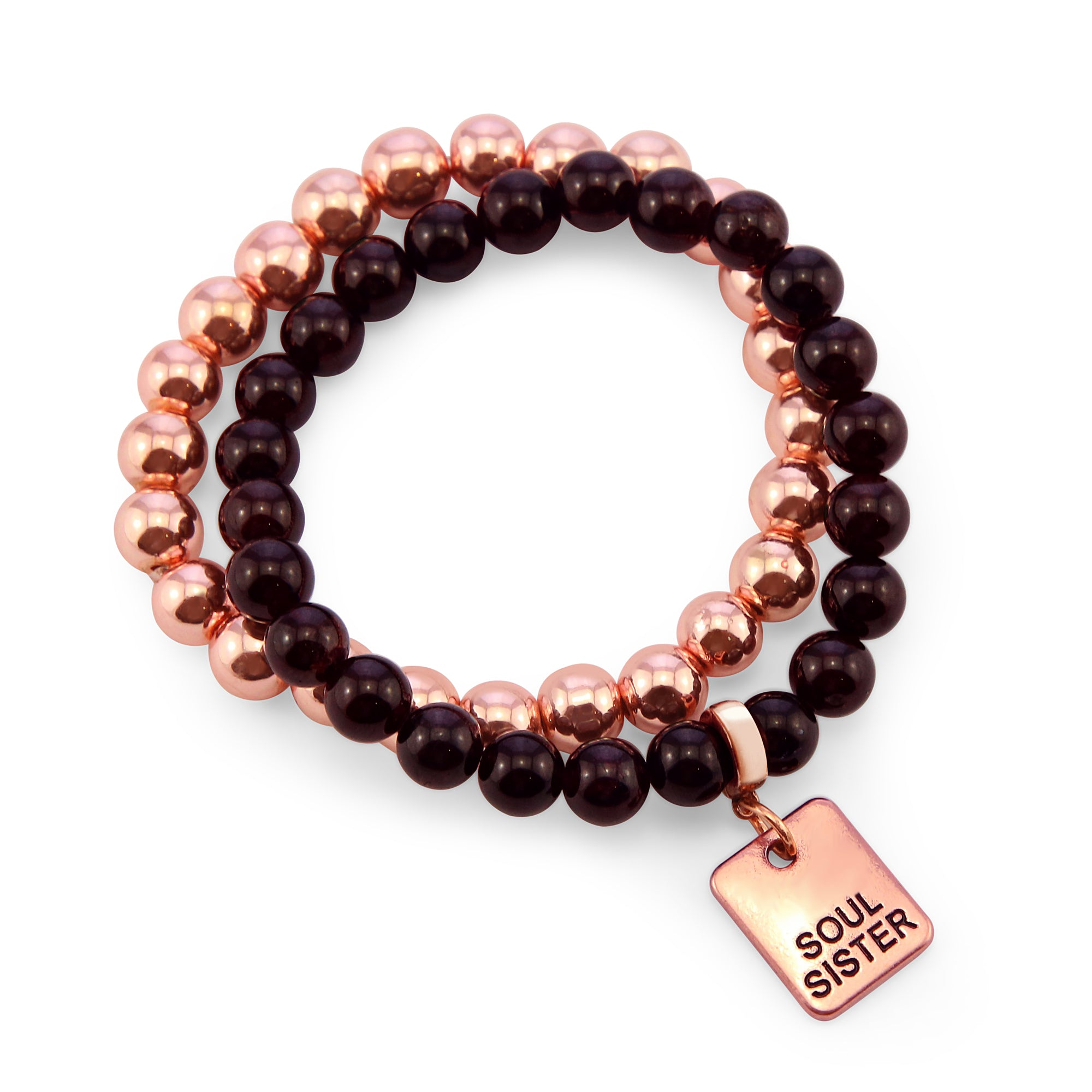 Bracelet Duo! Rose Gold & Garnet bead bracelet stacker set - SOUL SISTER (10824)