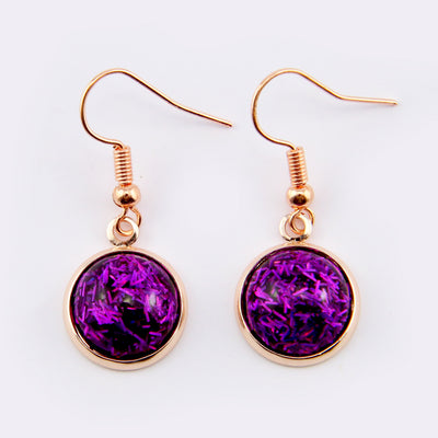 SPARKLEFEST Dangles - Girl You're Amazing - Stainless Steel Rose Gold Earrings - Purple Glitter (8417-R)
