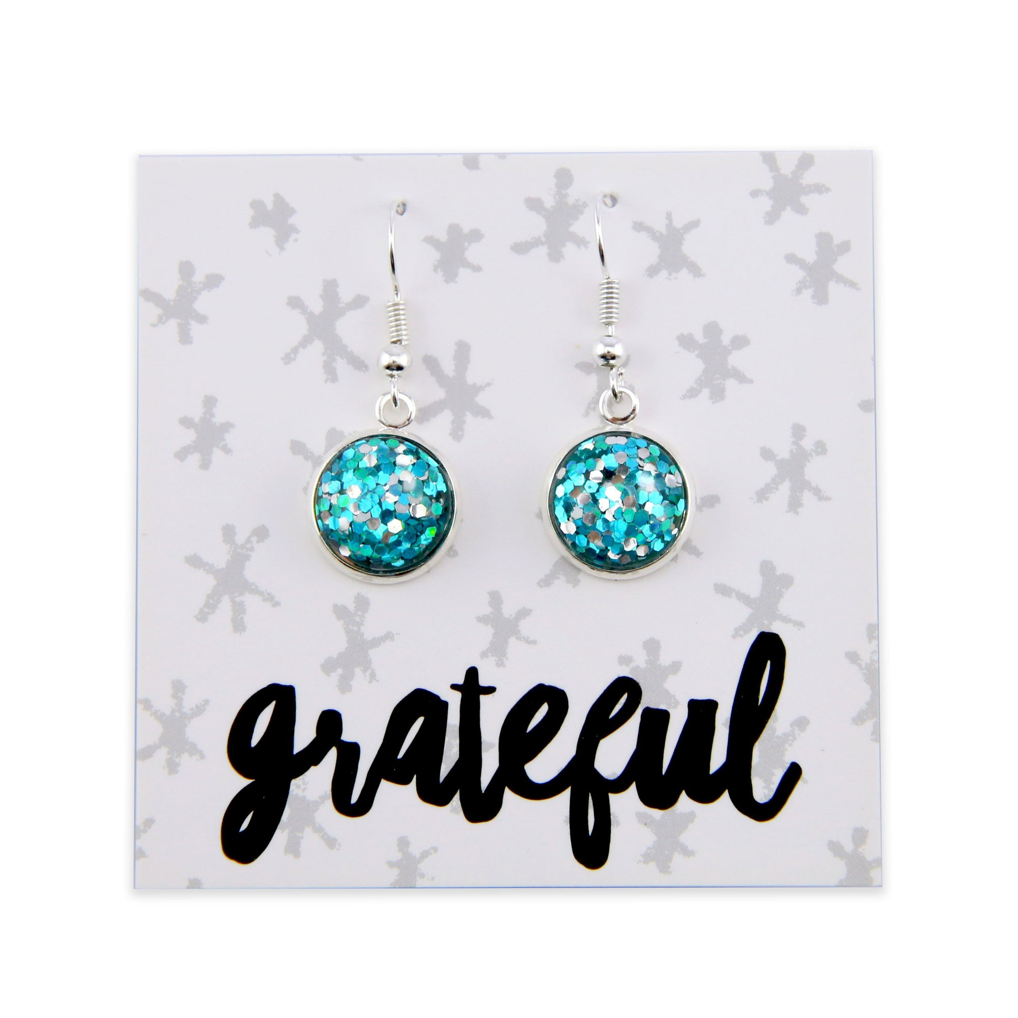 SPARKLEFEST Dangles - Grateful - Stainless Steel Bright Silver Earrings - Aqua, Silver & Green Glitter (8504-F)