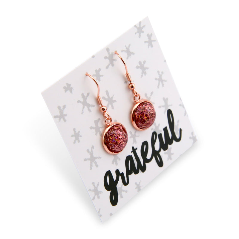 SPARKLEFEST Dangles - Girl You're Amazing - Stainless Steel Rose Gold Earrings - Rose Gold Glitter (8506)
