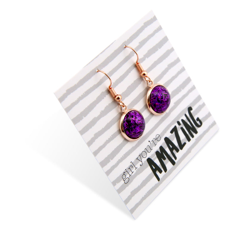 SPARKLEFEST Dangles - Girl You're Amazing - Stainless Steel Rose Gold Earrings - Purple Glitter (8417)