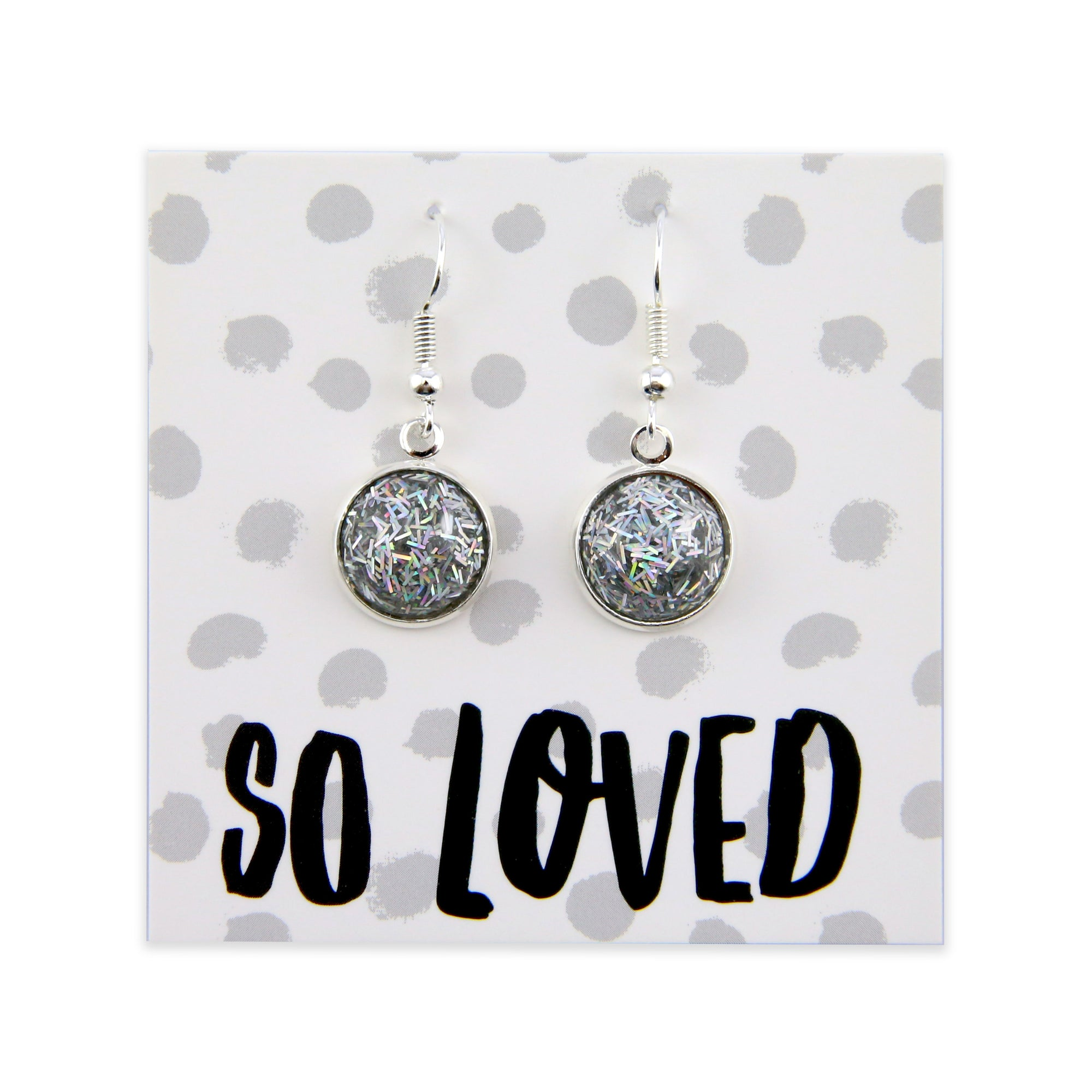 SPARKLEFEST Dangles - So Loved - Stainless Steel Bright Silver Earrings - Poppin Silver Glitter (8507)