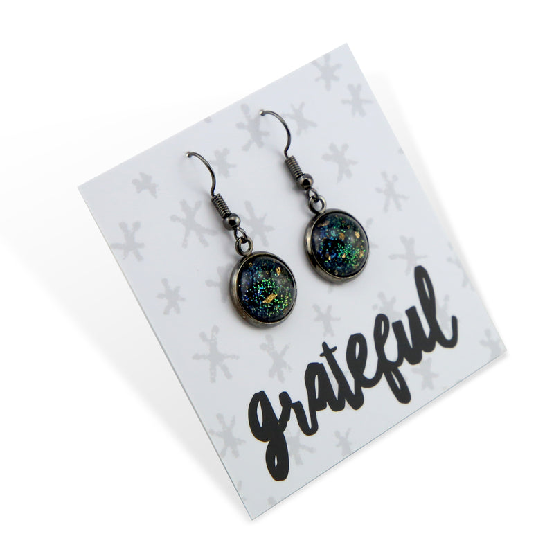 SPARKLEFEST Dangles - Grateful - Graphite Stainless Steel Earrings - Night Sky Glitter & Gold Leaf (2108-R)