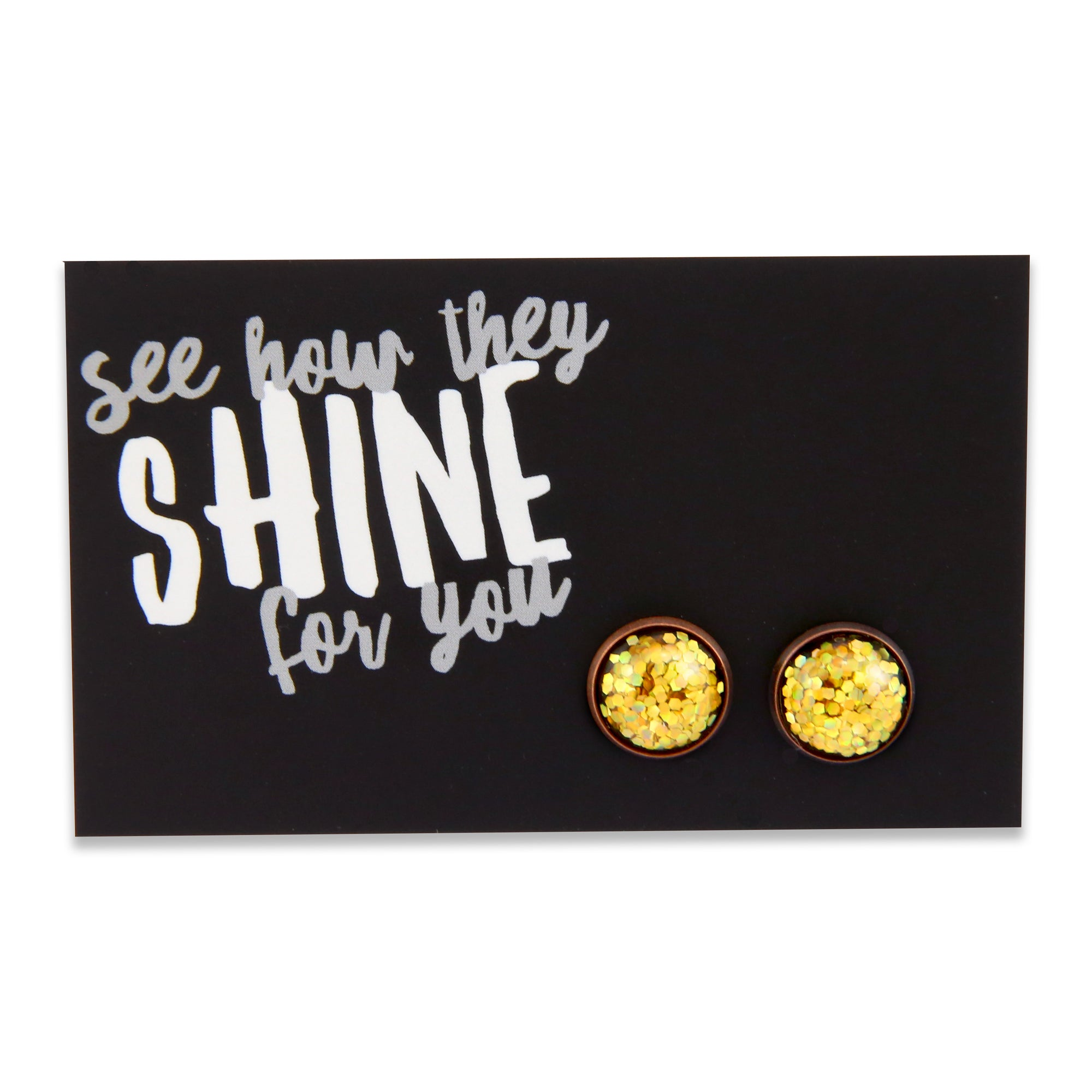 SPARKLEFEST - See How They Shine for You - Gold Glitter in Copper Earrings - Goldie (9114)