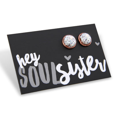 SPARKLEFEST - Hey Soul Sister! Glitter Resin Earrings set in Rose Gold - Silver (8083)
