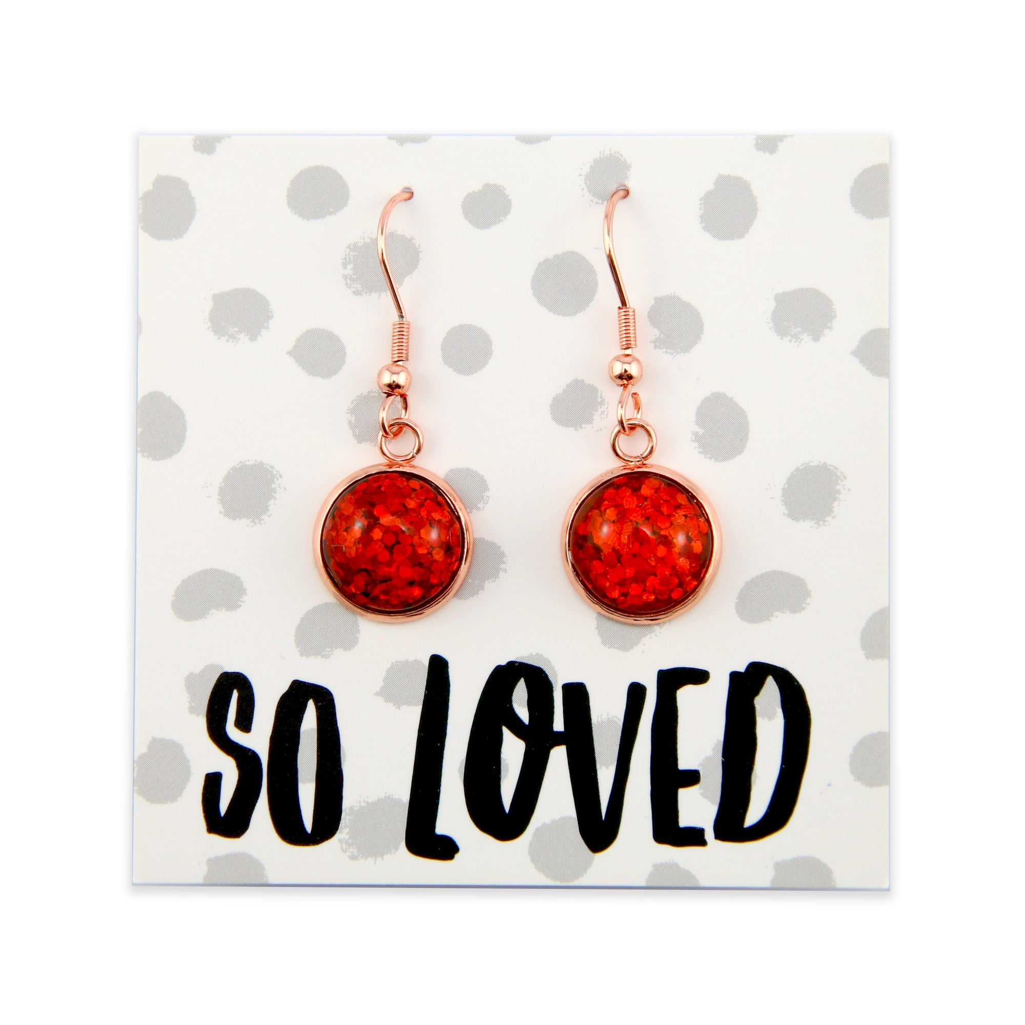 SPARKLEFEST Dangles - So Loved - Stainless Steel Rose Gold Earrings - Red Glitter (8409)