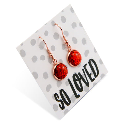 SPARKLEFEST Dangles - So Loved - Stainless Steel Rose Gold Earrings - Red Glitter (8915-R)