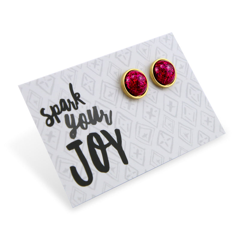 SPARKLEFEST - Spark your Joy - Stainless Steel Bright Gold Earrings - Fuchsia Pink Glitter (8414)