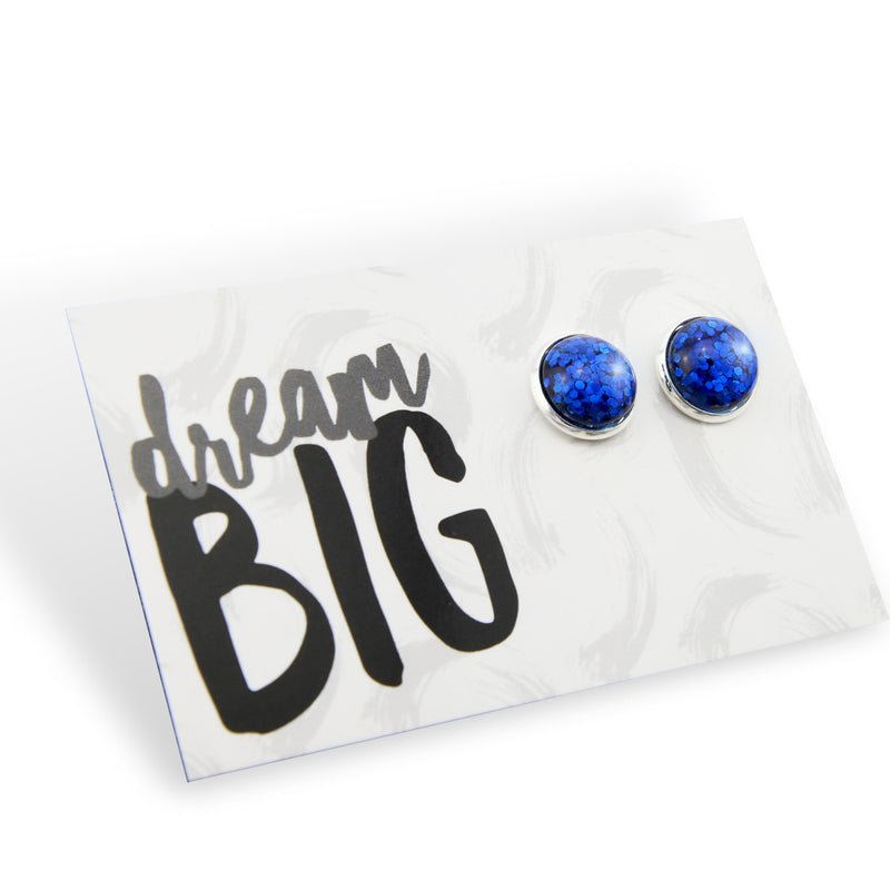 SPARKLEFEST - Dream Big! - Glitter Resin Earrings set in Silver - Vibrant Blue (9507)