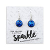 SPARKLEFEST Dangles - She Leaves A Little Sparkle - Stainless Steel Silver Earrings - Cobalt (2106-R)