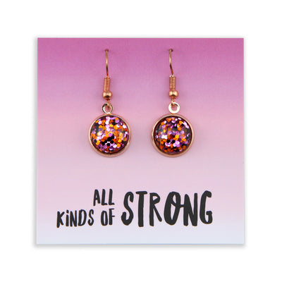 SPARKLEFEST Dangles - All Kinds of Strong - Stainless Steel Rose Gold Earrings - Dazzle Pop (2104-R)