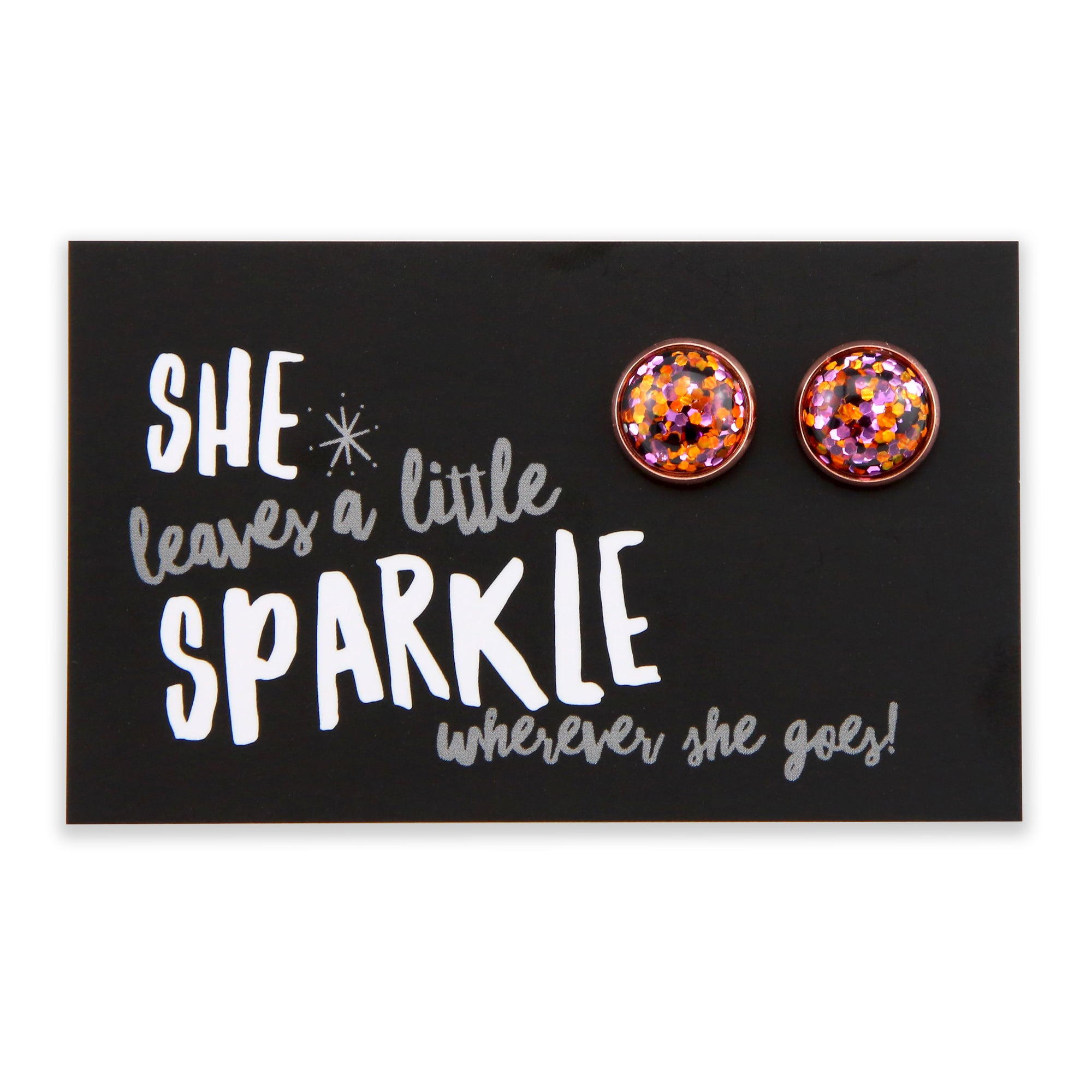 SPARKLEFEST - She Leaves A Little Sparkle -Rose Gold Stud Earrings - Dazzle Pop (2103-F)
