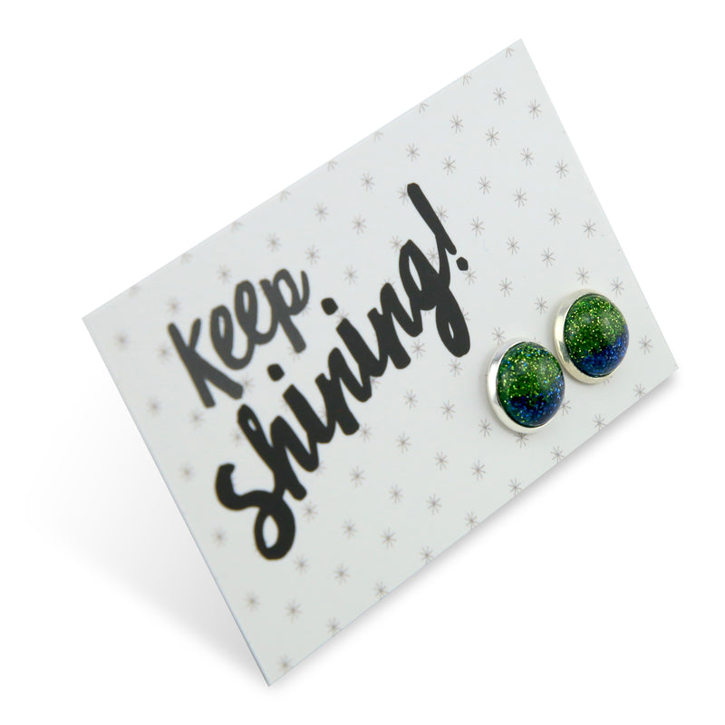 SPARKLEFEST - Keep Shining - Bright Silver Stud Earrings - Green & Blue Shimmer (2102-F)