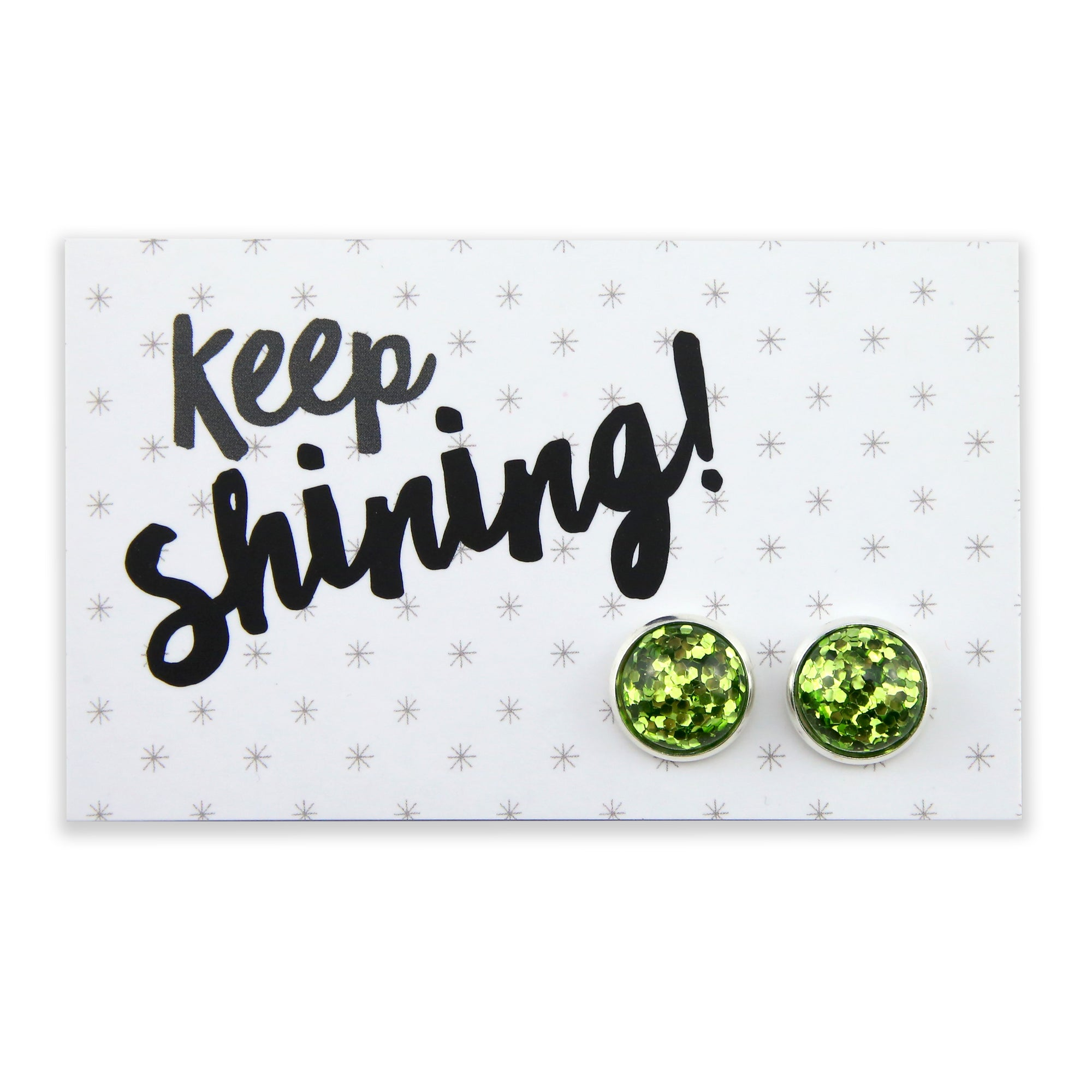 SPARKLEFEST - Keep Shining - Bright Silver Stud Earrings - Lime Pop (2115-F)