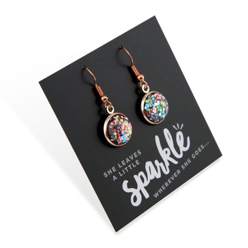 SPARKLEFEST Dangles - She Leaves A Little Sparkle - Stainless Steel Rose Gold Earrings - Glitter Pastels (2105-R)