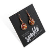 SPARKLEFEST Dangles - She Leaves A Little Sparkle - Stainless Steel Rose Gold Earrings - Red, Lime & Silver Glitter (2106-F)