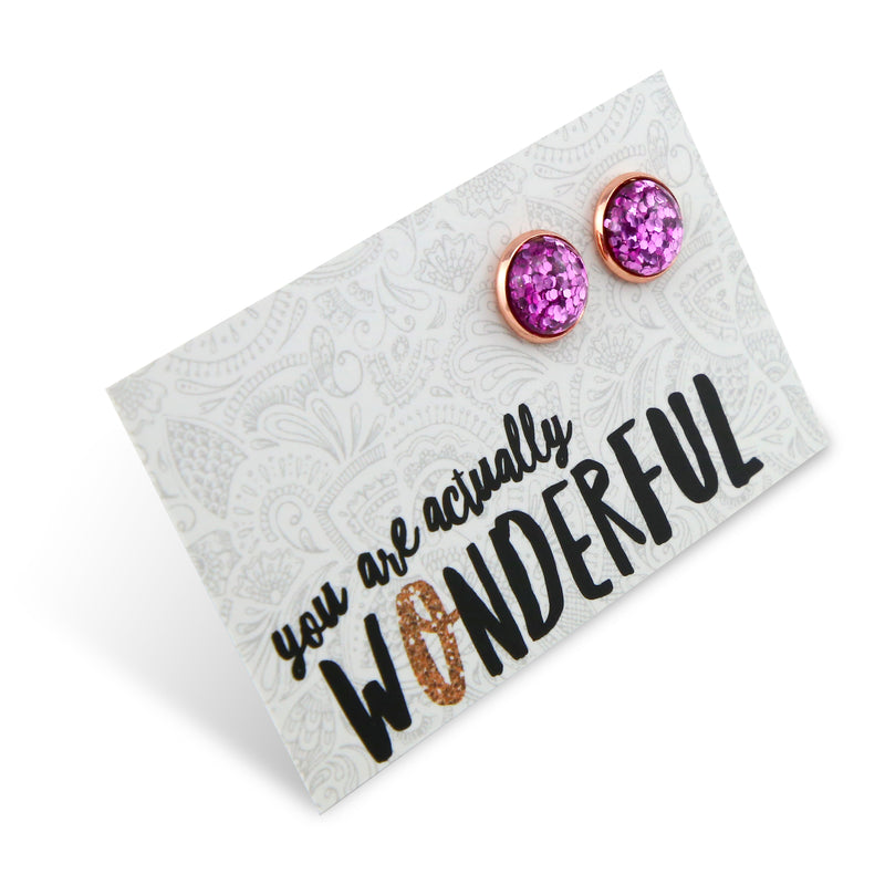 SPARKLEFEST - You Are Actually Wonderful - Rose Gold Stud Earrings - Violet Pop Glitter (2104-F)