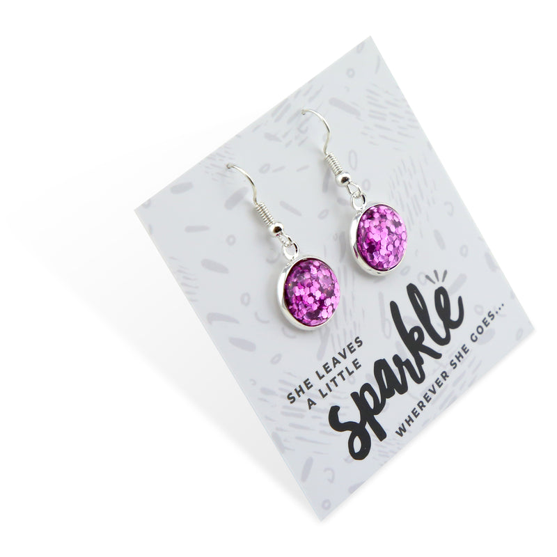 SPARKLEFEST Dangles - She Leaves A Little Sparkle - Stainless Steel Silver Earrings - Violet Pop (2107-R)
