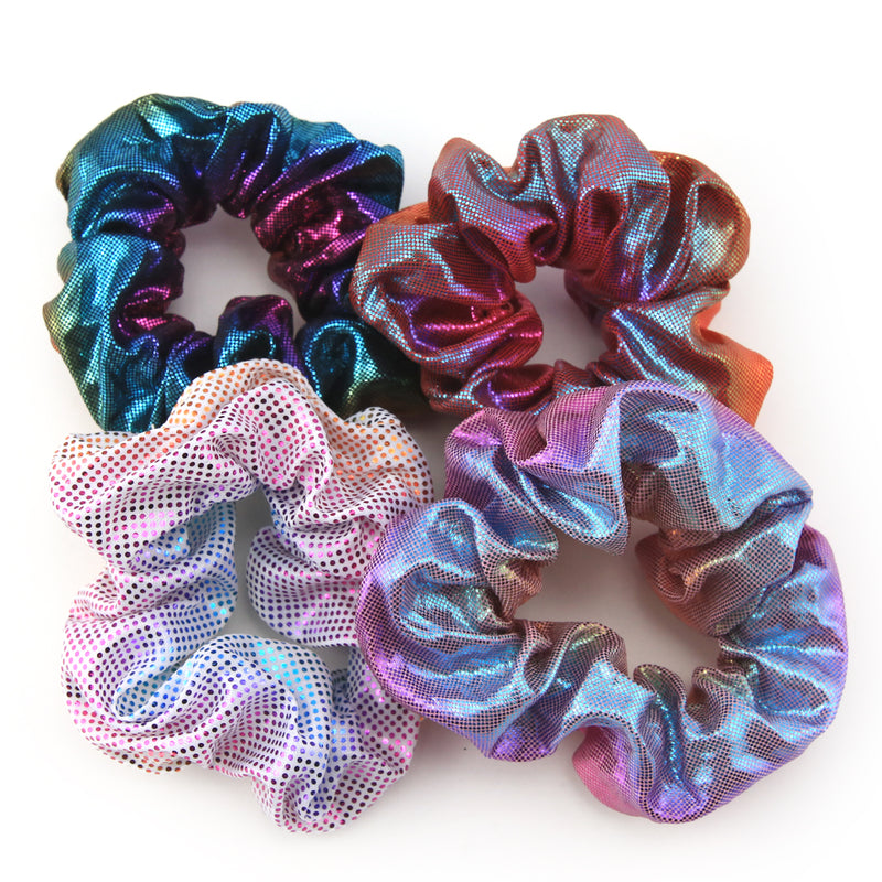 Sparkly Metallic Rainbow SCRUNCHIES 4 pack - Sparkle Pack (S09)