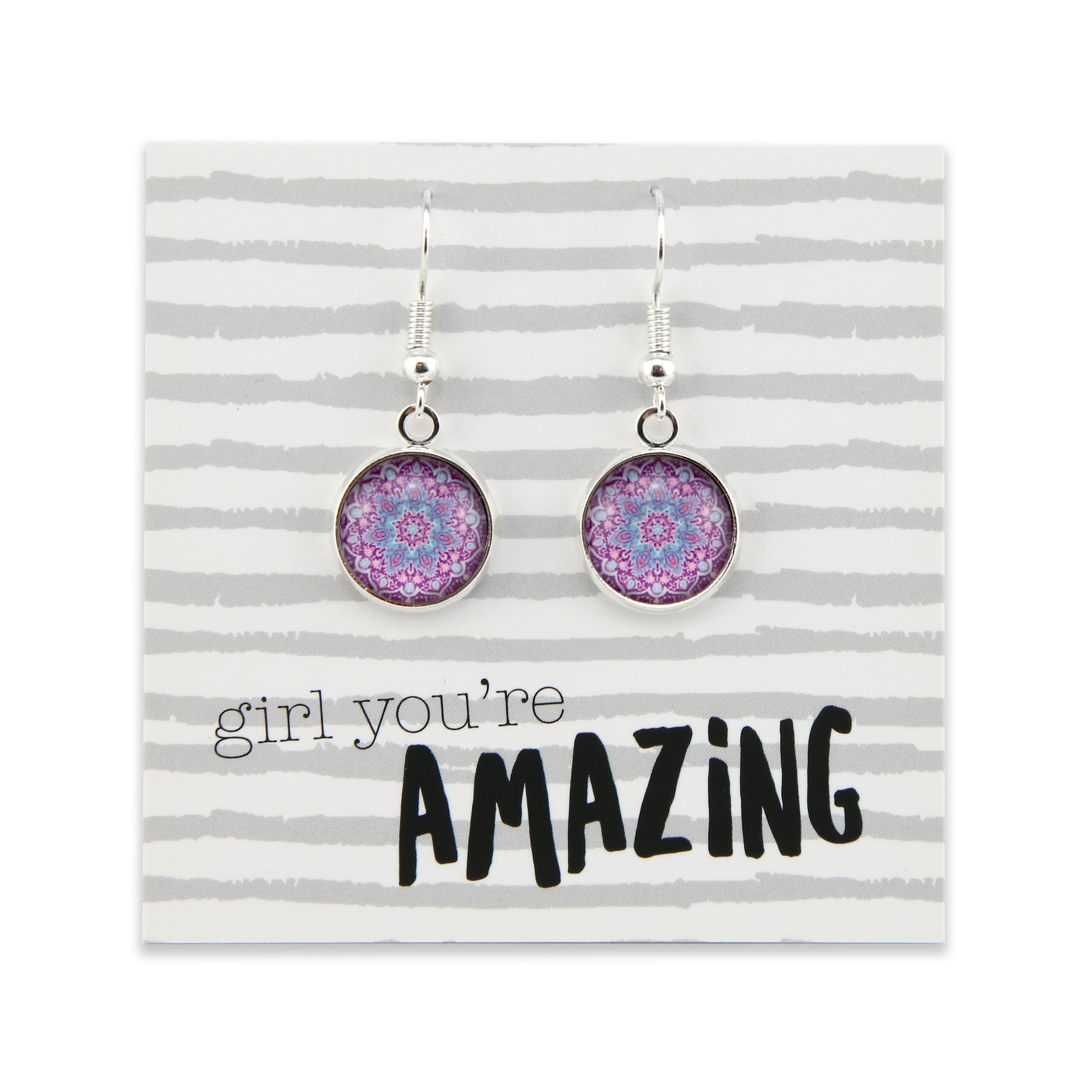 BOHO Collection - Girl You're Amazing - Stainless Steel Bright Silver Dangle Earrings - Star gazer (9305)