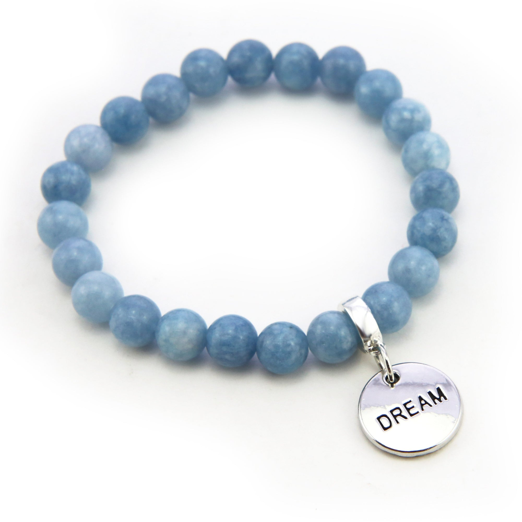 Stone Bracelet 8mm Bead Stormy Sea Blue Agate - With Silver Word Charms