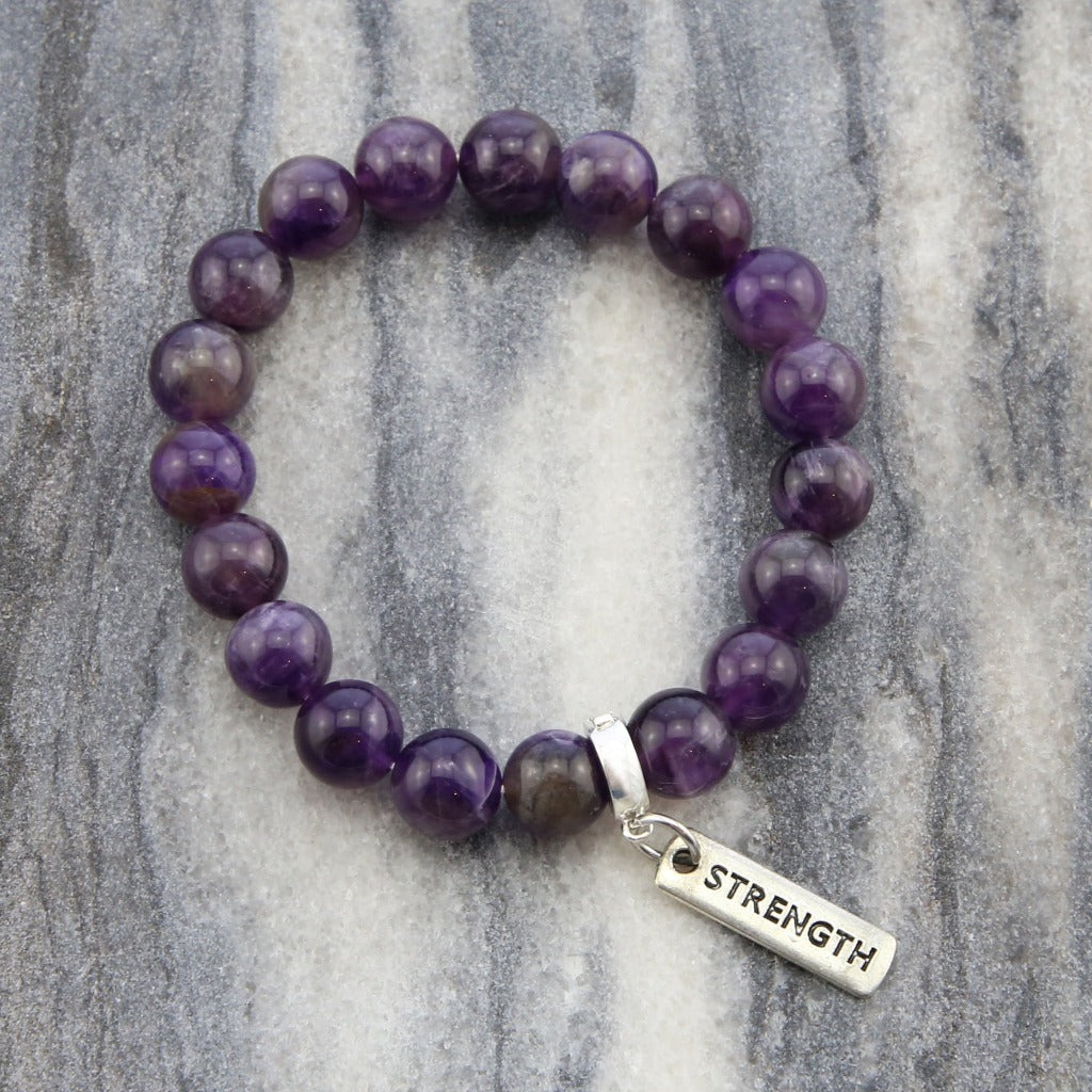 Precious Stone Bracelet - Deep Amethyst - Large 10mm Beads with Word Charms