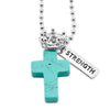 Cross & Crown Necklace - Turquoise