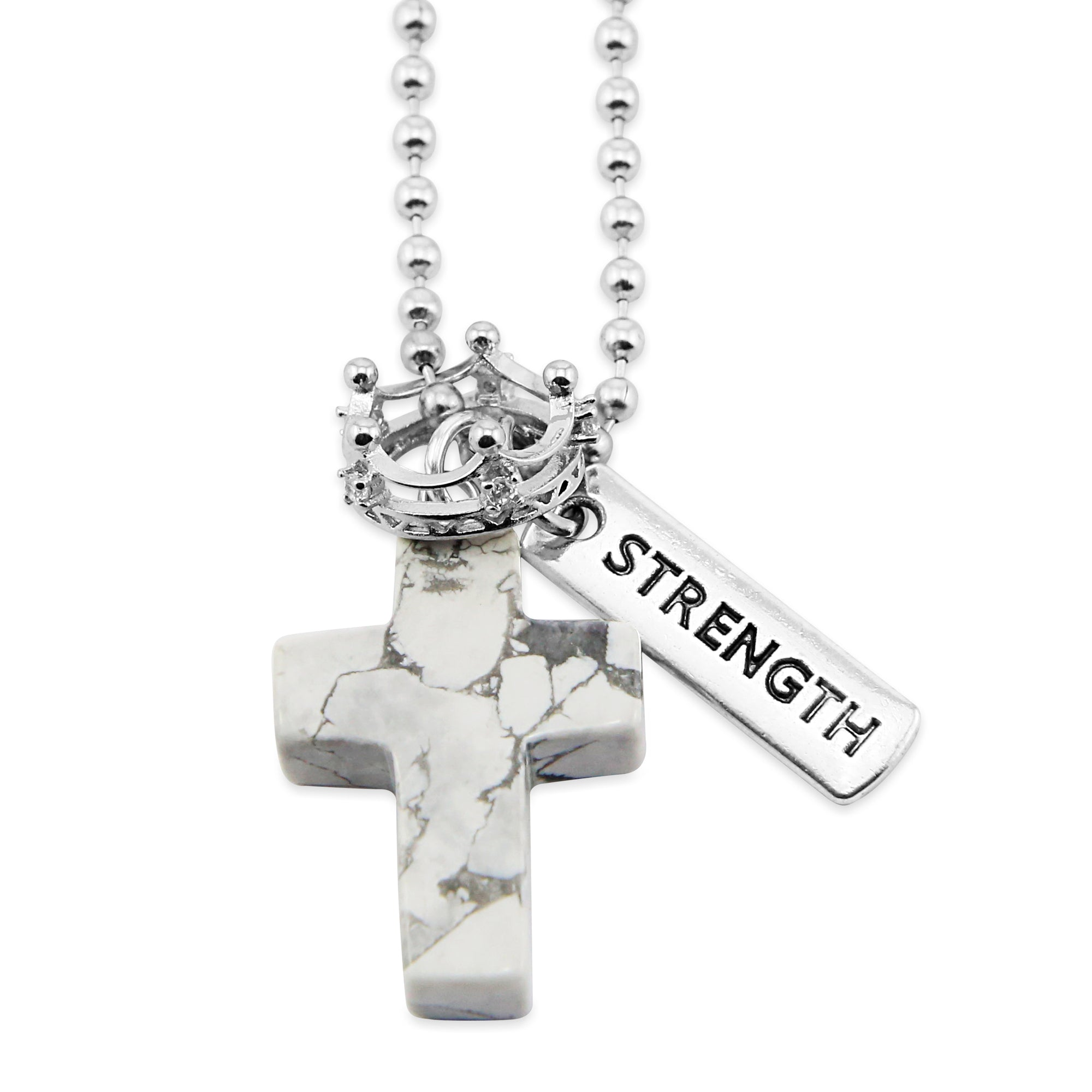 Cross & Crown Necklace - White Marble Howlite - with Word charm