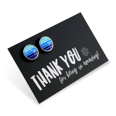Blue Stripe Resin - Thank You For Being So Amazing- Vintage Silver surround Circle Studs - Blues (9715)