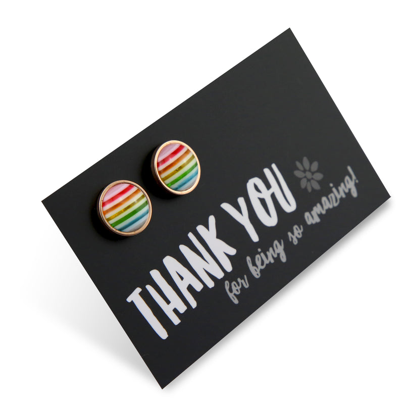Stripe Resin - Thank You For Being So Amazing- Stainless Steel Rose Gold surround Studs - Rainbow (8411-F)