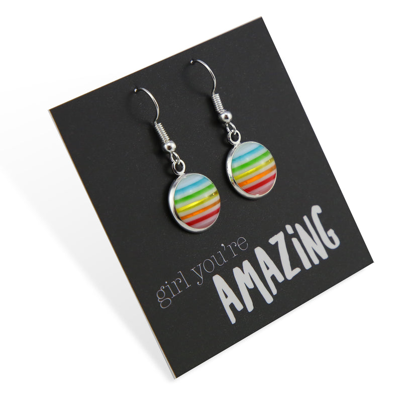 Stripe Resin - Girl, You're Amazing! - Stainless Steel Bright Silver Dangle Earrings - Rainbow (2107-F)